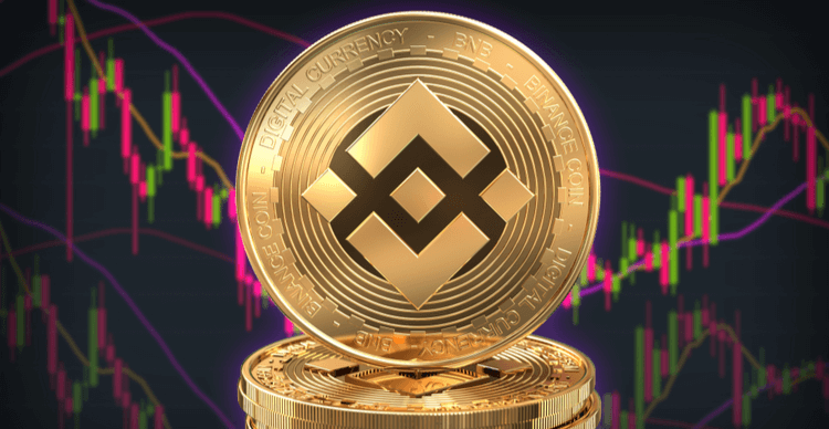 Binance coins stacked in a pile in front of a trading chart