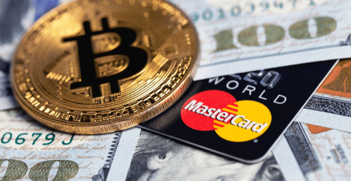 Image of Mastercard with Bitcoin and dollars
