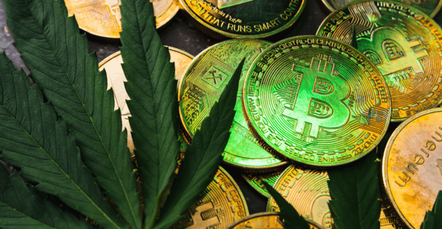 Image of crypto coins with cannabis leaf
