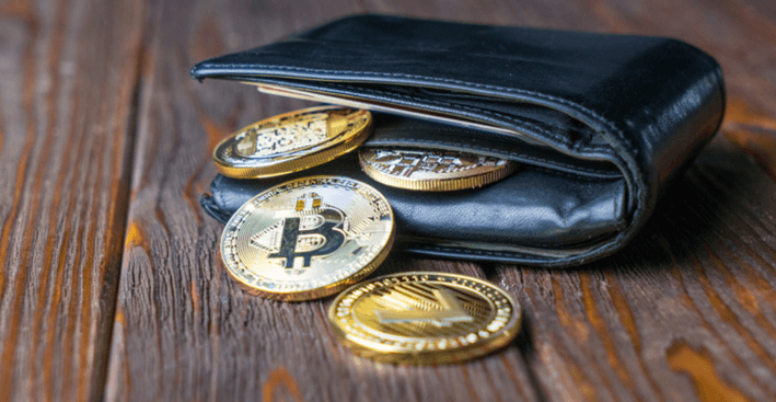 Image of cryptocurrencies in a wallet